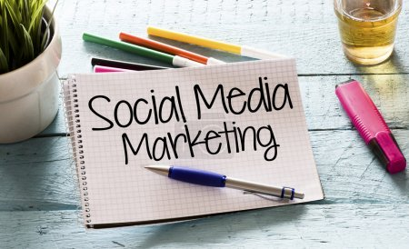 Notepad with social media marketing