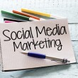 Notepad with social media marketing and markers,pe...