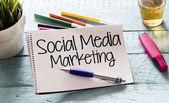 Notepad with social media marketing