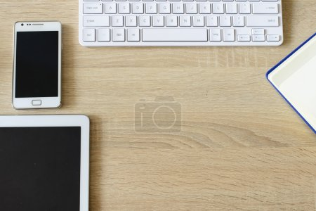 tablet pc,smart phone,notebook and keyboard