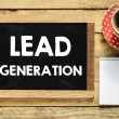 Lead generation On Blackboard with cup of coffee,n...