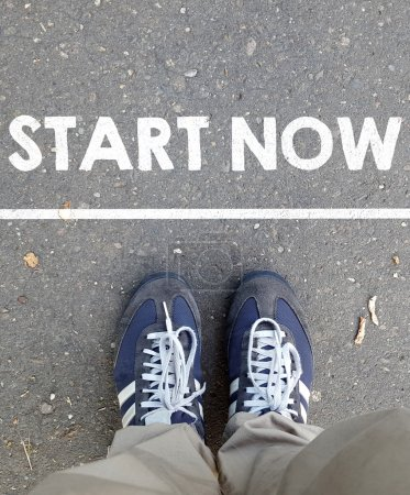 Photo for Male sneakers with start now on  background - Royalty Free Image