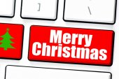Computer white keyboard with     Merry Christmas