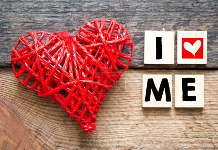 Photo for Decorative heart and I love me inscription on wooden background - Royalty Free Image