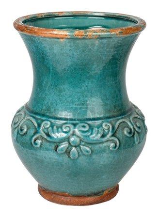 Old earthenware ceramic vase. Isolated on white