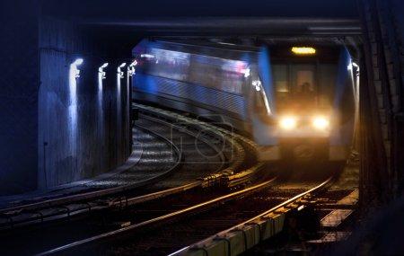 Trains on traintracks, blurred
