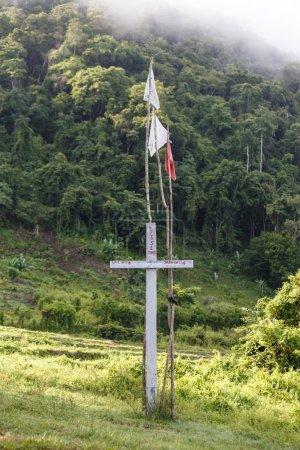 Cross at Rhi Lake in Myanmar