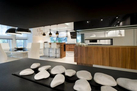Modern fireplace and kitchen
