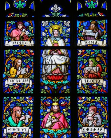 Photo for PRAGUE, CZECH REPUBLIC - APRIL 2, 2016: Stained Glass window in St. Vitus Cathedral, Prague, depicting Mother Mary and the Prophets Daniel, Jonah, Zachary, Ezekiel, Micheas and Abdias. - Royalty Free Image
