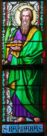 Photo for PRAGUE, CZECH REPUBLIC - APRIL 2, 2016: Stained Glass window in St. Vitus Cathedral, Prague, depicting Barnabas, born Joseph, an early Christian, one of the prominent Christian disciples in Jerusalem - Royalty Free Image