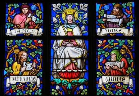 Photo for PRAGUE, CZECH REPUBLIC - APRIL 2, 2016: Stained Glass window in St. Vitus Cathedral, Prague, depicting Mother Mary and the Prophets Daniel, Jonah, Zachary and Abdias. - Royalty Free Image
