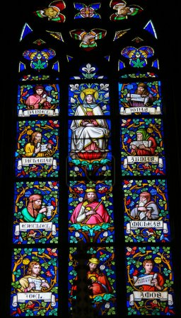 Photo for PRAGUE, CZECH REPUBLIC - APRIL 2, 2016: Stained Glass window in St. Vitus Cathedral, Prague, depicting Mother Mary and various Prophets. - Royalty Free Image