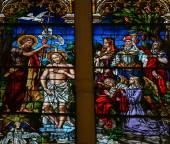 Baptism of Jesus by Saint John - Stained Glass in Burgos Cathedr