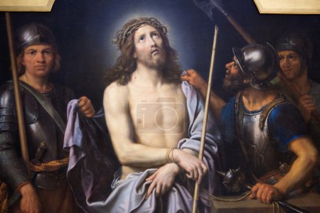 Photo pour Peinture représentant Jésus le Vendredi Saint, au Musée de Rouen, France. Ce tableau a été créé par Pierre Mignard et terminé en 1690, aucune libération de propriété n'est requise . - image libre de droit