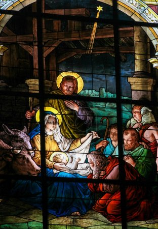 Photo for STOCKHOLM, SWEDEN - APRIL 16, 2010: Stained glass window created by F. Zettler (1878-1911) at the German Church (St. Gertrude's church) in Gamla Stan in Stockholm, depicting the Adoration by the Shepherds (Nativity Scene) at Christmas. - Royalty Free Image