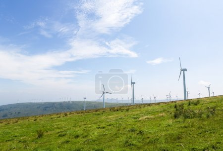 Photo for Onshore wind turbine farm in the Northern part of Galicia, Spain. - Royalty Free Image