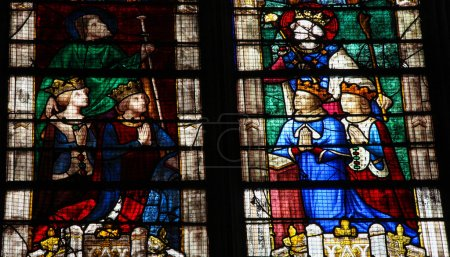 Photo for Stained Glass window of Louis of Bourbon in the Vendome Chapel in the Cathedral of Our Lady of Chartres, France - Royalty Free Image
