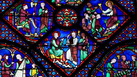 Photo for Stained Glass window of St Jacob or Saint James in the Cathedral of Our Lady of Chartres, France. - Royalty Free Image
