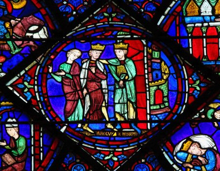 Photo for CHARTRES, FRANCE - JULY 21, 2015: Stained Glass window depicting Charlemagne in the Cathedral of Our Lady of Chartres, France - Royalty Free Image
