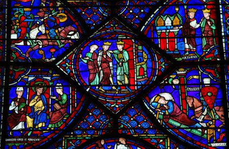 Photo for Stained Glass window depicting Charlemagne in the Cathedral of Our Lady of Chartres, France - Royalty Free Image