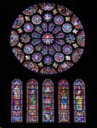 Photo for CHARTRES, FRANCE - JULY 21, 2015: South transept Rose Window (12th Century) in the Cathedral of Our Lady of Chartres, France. - Royalty Free Image