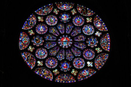 Photo for South transept Rose Window (12th Century) in the Cathedral of Our Lady of Chartres, France. - Royalty Free Image