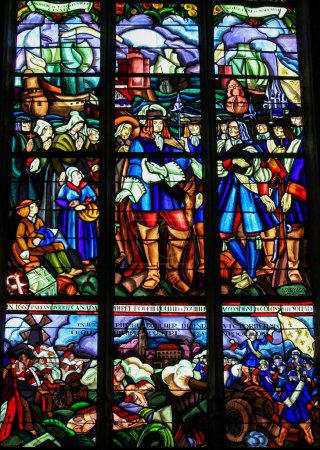 Photo for MORTAGNE-AU-PERCHE, FRANCE - JULY 20, 2015: Stained Glass depicting the Departure of Pierre Boucher at La Rochelle for Quebec (17th Century) in the Notre Dame church of Mortagne, Perche, France - Royalty Free Image