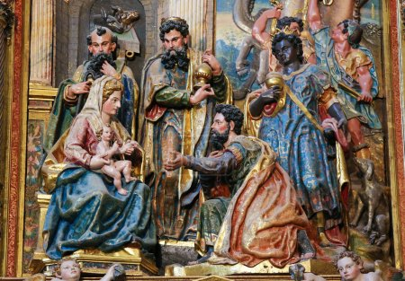 Photo for BURGOS, SPAIN - AUGUST 13, 2014: Sculpture depicting the Epiphany or Adoration of the Magi  in the Cathedral of Burgos, Castille, Spain - Royalty Free Image