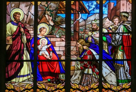 Photo for TOURS, FRANCE - AUGUST 14, 2014:  Stained glass window depicting the Epiphany, the Visit of the Three Kings in Bethlehem, in the Cathedral of Tours, France. - Royalty Free Image