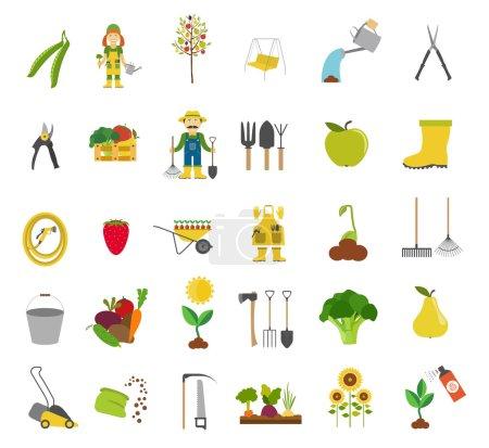 Gardening work, farming icon set. Flat style design