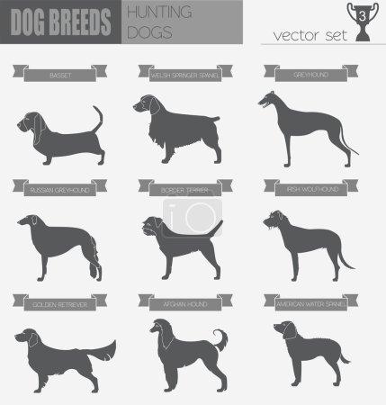 Dog breeds. Hunting dog set icon. Flat style