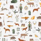 Hunting seamless pattern Dog hunting equipment Flat style