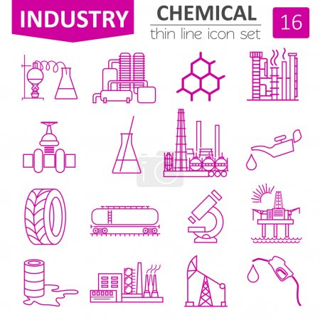 Chemical industry icon set. Thin line icon design