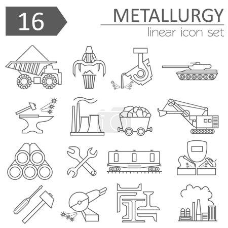 Metallurgy icon set. Thin line icon design