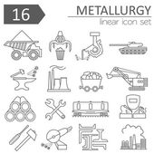 Metallurgy icon set Thin line icon design