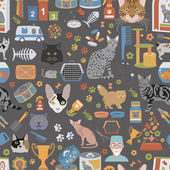 Cat characters and vet care seamless pattern flat style