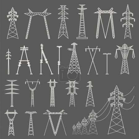 High voltage electric line pylon. Icon set suitable for creating