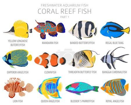 Peces de arrecife de coral. Acuario de agua dulce icono de pescado conjunto de estilo plano aislado en blanco. Ilustración vectorial