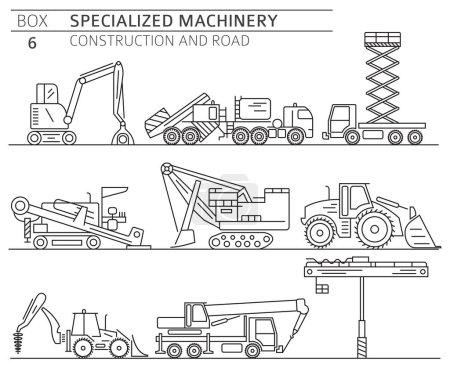 Photo pour Icône vectorielle linéaire de construction industrielle spéciale et machine routière isolée sur blanc. Illustration - image libre de droit