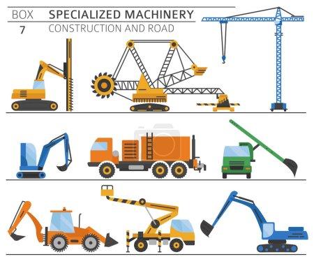 Photo pour Construction industrielle spéciale et icône vectorielle couleur machine routière isolée sur blanc. Illustration - image libre de droit