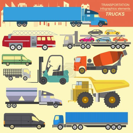 Illustration for Set of elements cargo transportation: trucks, lorry for creating your own infographics or maps. Vector illustration - Royalty Free Image