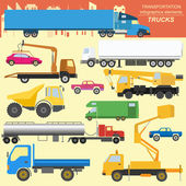Set of elements cargo transportation: trucks lorry for creating