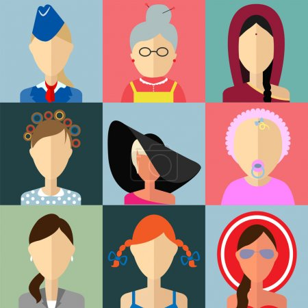 Set of flat style female characters