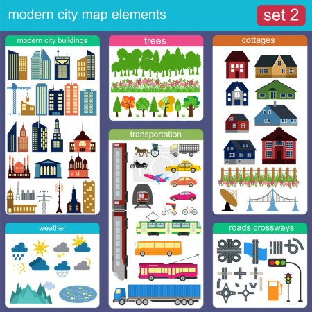 Modern city map elements for generating your own infographics, m