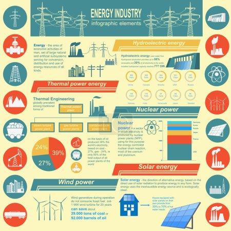 Illustration pour Infographie de l'industrie du carburant et de l'énergie, définissez des éléments pour créer votre propre infographie. Illustration vectorielle - image libre de droit