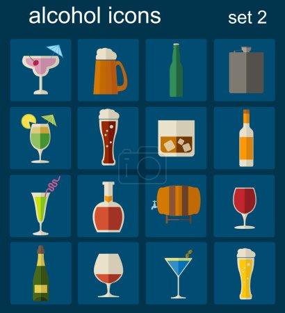 Illustration pour Alcool boissons icônes. Ensemble de 16 icônes plates. Illustration vectorielle - image libre de droit