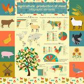Zemědělství, chov zvířat infografiky, vektorové ilustrace