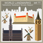 World landmarks icon set Elements for creating infographics