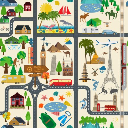 Illustration for Travel background. Vacations. Beach resort, camping, excursion and landmarks seamless pattern. Vector illustrations - Royalty Free Image
