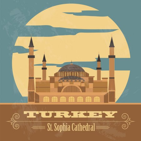 Turkey landmarks. Retro styled image. Vector illustration